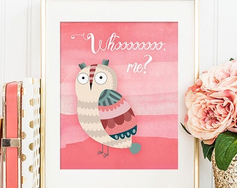 75% OFF SALE - Whoooooooo Me? Owl - 8x10 Nursery Art Print, Nursery Decor, Baby Girl Nursery, Printable Nursery Wall Art, Nursery Artwork