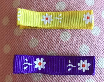 Yellow and Purple Flower Clip Set