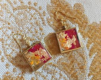 Handpainted Magenta Glass & Gold Earrings