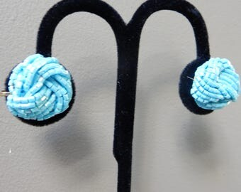 Turquoise Beaded Knot Clip Earrings