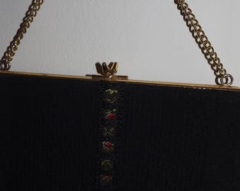 Vintage Handbag sale  Black fabric lined purse evening prom wedding
