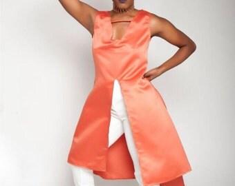 Orange satin tunic with front split