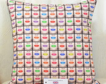 "Vogue Lips Cushion Cover 17""x17"" (43cm sq.) Red Pink Lime Blue Digitally Printed 100% Cotton"