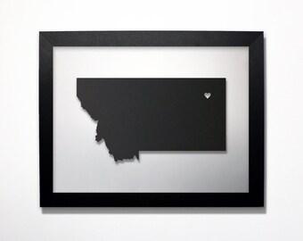 Montana Map / Laser Cut Map / Montana State Art / Montana Art / Framed State Map / Montana Gift / Wedding Gift / Anniversary Gift / Decor