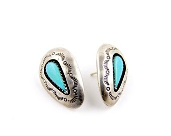 Sterling Silver Stamped Navajo Turquoise Teardrop Earrings