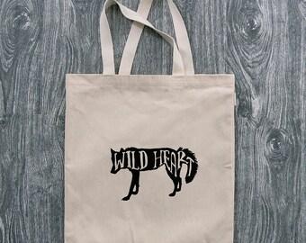 Wolf - Wild Heart - 12oz Cotton Canvas Tote Bag
