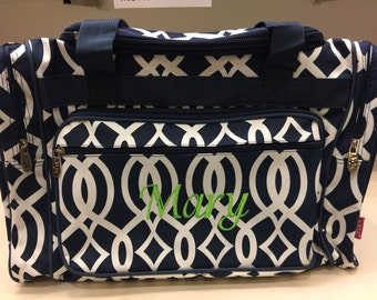 20 inch Vine Print Canvas Monogrammed Duffle Bag Navy Blue and White