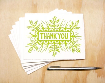 Green Thank You Cards - Set of 6 Block Printed Cards - Spring Grass - READY TO SHIP