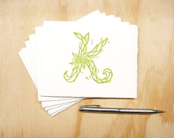 Letter K Stationery - READY TO SHIP - Personalized Gift - Set of 6 Block Printed Cards