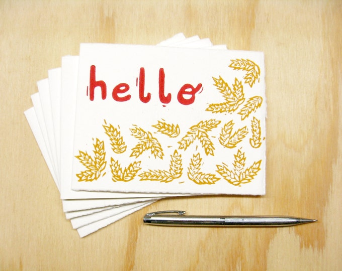 Featured listing image: Hello Wheat Cards - Set of 6 Block Printed Cards - Just Because Cards - READY TO SHIP