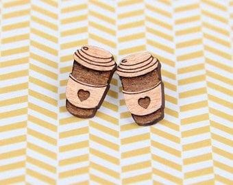 Wooden Takeaway Coffee Earrings - Coffee Lover Earrings - Stud Earrings - Lasercut - Coffee Cup Earrings