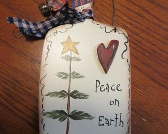 Wooden Snowman Ornament Hand Painted