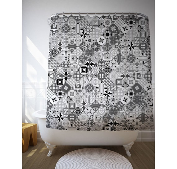 Mosaic Shower Art, Black And White, Modernist Decor, Bath Decoration, Ceramic Tiles Art, Shower Curtain, Fabric Curtain