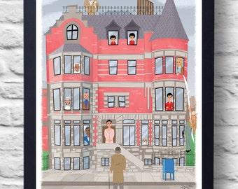 The Royal Tenenbaums-Movie Poster Print, film illustration art, retro painting