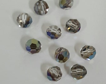 Swarovski 6mm Round (5000) Faceted Crystal Beads - Iridescent Green x 10