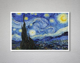 Starry Night, 1889 by Vincent Van Gogh- Poster Print, Sticker or Canvas Print / Gift Idea