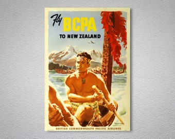 Fly BCPA to New Zealand  Vintage Travel Poster -  Poster Print, Sticker or Canvas Print