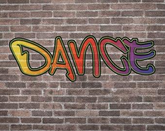 Graffiti Brick GBW001 - Graffiti Brick Dance 1 on Glare Free Vinyl 7' wide by 5' tall