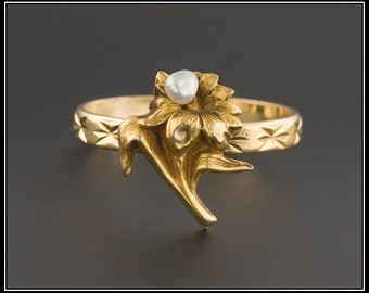 Gold & Pearl Flower Ring | Antique Stick Pin Ring | Antique Pin Conversion Ring | 18k Gold Ring with 15ct Gold Flower