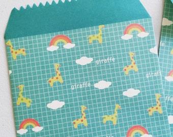 Giraffe Party Favor Bags, Rainbow Envelope, Animal Print Party Bags, Gift Bags, Giraffe Treat Bags, Gift Paper Bags - Set Of 5