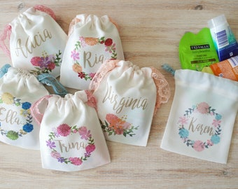 Personalized Wedding Favor Bags Bridesmaids Gift Jewelry Pouch Party Favors Bachelorette Gifts Drawstring Pouch Travel Pouch