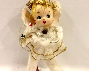 Vintage Spun Cotton, Angel Ornament,  Christmas Angel Ornament, Paper Wings, Tinsel Halo, Mercury Glass beads, 3 1/2 inch, Japan, 1950