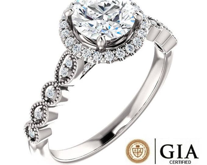 Featured listing image: PLATINUM GIA Certified 1.25 Carat Genuine Natural Diamond Solitaire Halo Style Designer Ring