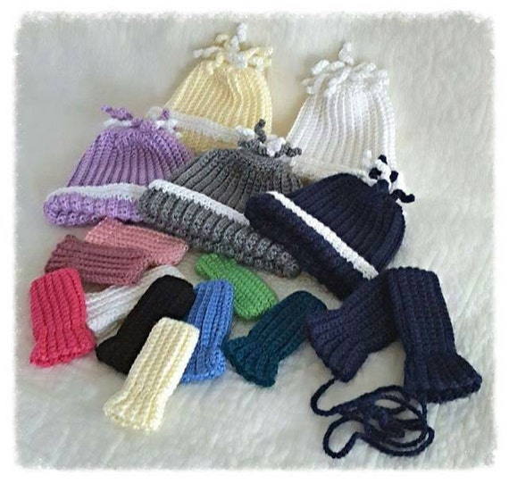 Baby Hat Mittens Set Infant Winter Thumbless
