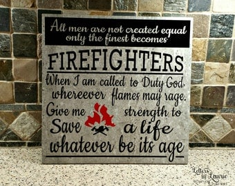 Fire Fighter Gift, Fire Fighter Sign, Fire Fighter , Fireman Gift, Fire Fighter Prayer
