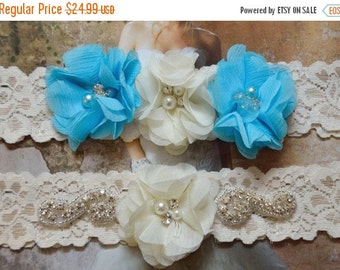 ON SALE Wedding garter, Rhinestone and chiffon, Blue wedding garter set