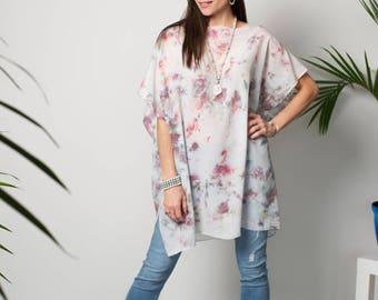 Silk tunic top - Pastel caftan top - Tie dye boho caftan - Beach coverup - Bohemian clothing