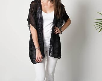 Silk kimono -  Black burnout kimono - Tie dye boho kimono - Burnout silk jacket - Bohemian clothing