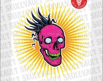 Comic Book Skull Vector Illustration - Crazy Skull