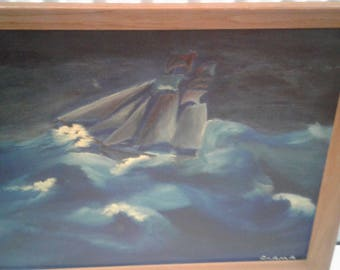 Vintage Clipper Ship Oil on Board / Storm/Waves/Carma