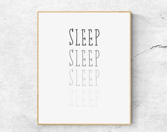Sleep Prints, Typography Wall Art, Bedroom Wall Art Prints, Large Wall Art  Print