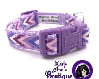 Dog Collar / Puppy Collar / Chevron / Purple / Puppy / Adjustable / XS Dog Collar / Extra Small / Dog Collar and Leash / Spring / Summer