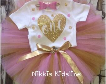 First birthday tutu set - 1st birthday tutu set - Pink and gold glitter tutu set - first birthday - 1st birthday tutu set