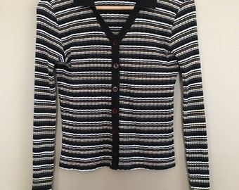 Vintage 90s Striped Black & Brown Ribbed Collared Cardigan Top by Copper Key