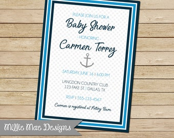 SALE 25% OFF Nautical Anchor Preppy Baby Shower Invitation