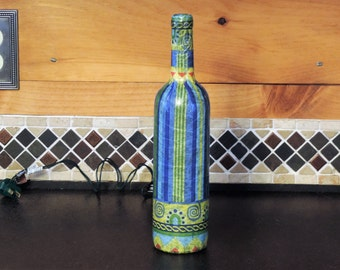 Handcrafted Nightlight with blue and yellow stripes and swirls