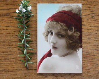 Vintage Photographic Postcard ~ Girl with Red Scarf ~ Ephemera Art Supply Photo Styling
