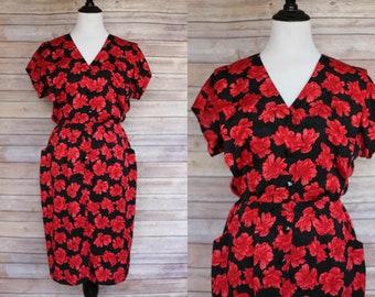 1980s does 1950s |  80s Dress  |  1980s Floral Dress | 80s Floral Dress | Vintage Floral Dress | Floral dress