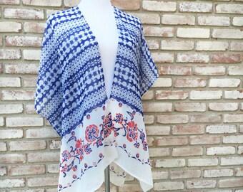 Kimono Cardigan, Red White Blue, Kimono Jacket, Gift for Her, Boho Kimonos, Kimono Top, Beach Cover up, Boho Cardigan, Festival Kimono, Fall