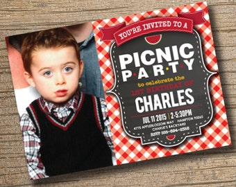 PRINTABLE Picnic Birthday Party Invitation - Picnic Party Invitation - BBQ Party Picnic Invitation - Printable Picnic Birthday Invitation