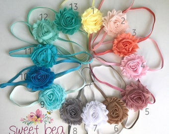 You Pick Shabby Headbands- Three Headbands- You Pick Color- Newborn Headband - Toddler Headband
