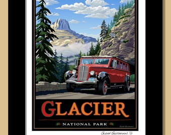 Glacier National Park, Going to the Sun Road on the Red Bus. Framed 11x14 Giclee Print.