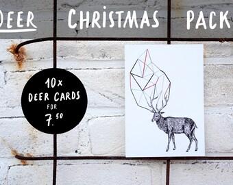 Deer Christmas card - pack