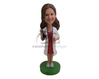 Custom Bobblehead Female Doctor, Female Physician Custom Bobblehead, Female Medical Doctor Custom Bobblehead