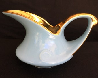 Pearl China Company Creamer in Aqua Blue with 22K Gold Accent