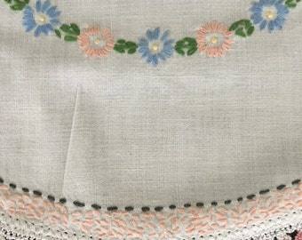 Dresser Scarf Table Runner Eastern European Hand Embroidered Crotcheted Edge